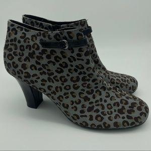 Aerosoles Cheetah Print Heeled Ankle Booties